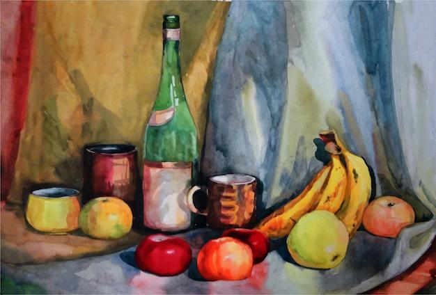 수채화 과일, 사과, 바나나, 오렌지 손으로 그린 그림