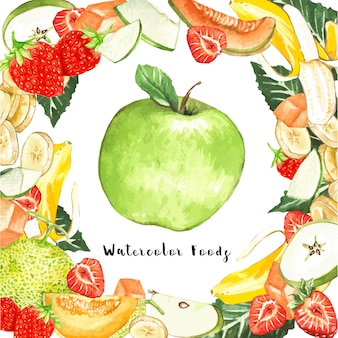 Watercolor fruits around a apple
