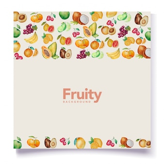 水彩果物背景カードのテーマ