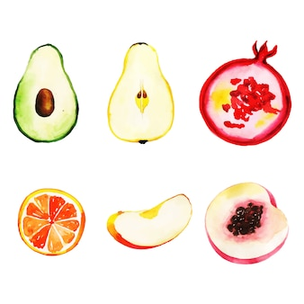 Watercolor Fruits Collection