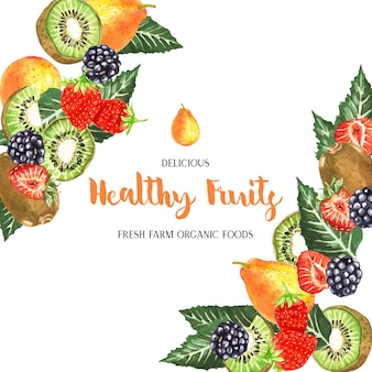 Watercolor fruits frame