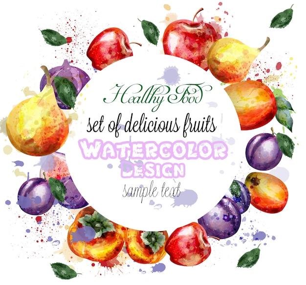Венок акварельных фруктов