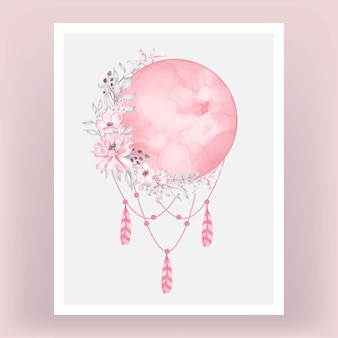 Watercolor full moon in bright pink with flower
