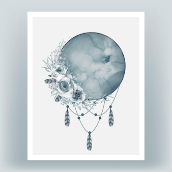 Watercolor full moon in cadet blue with flower