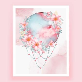 水彩の満月ピンクの桃のユリの花