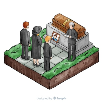 Watercolor funeral ceremony