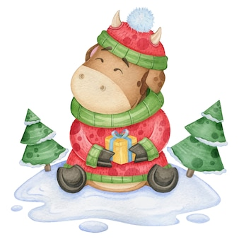 Watercolor funny bull in a christmas costume with a gift .