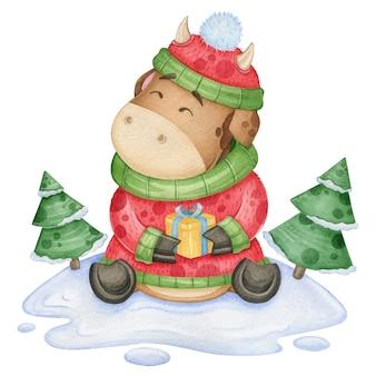 Акварель забавный бык в новогоднем костюме с подарком.