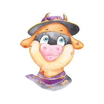 Акварельный забавный бык в костюме зорро
