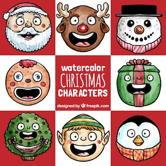 Watercolor funny christmas characters