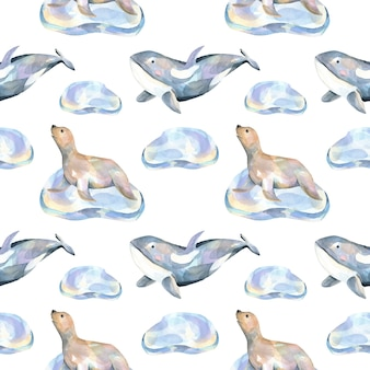 Watercolor fur seals on ice floes and whales