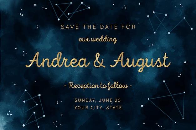 Watercolor galaxy concept for wedding invitation