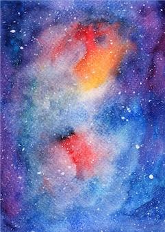 수채화 은하 별이 빛나는 밤 배경