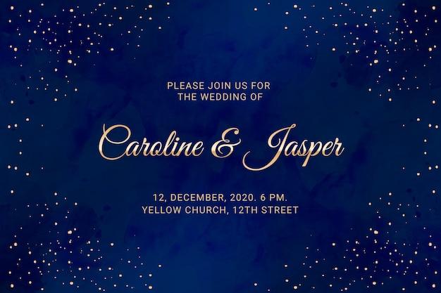 Watercolor galaxy wedding invitation template