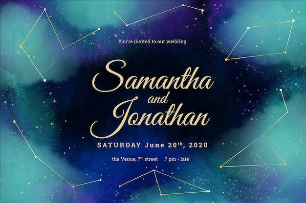 Watercolor galaxy wedding invitation with constellations template