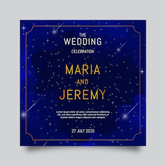 Watercolor galaxy wedding invitation
