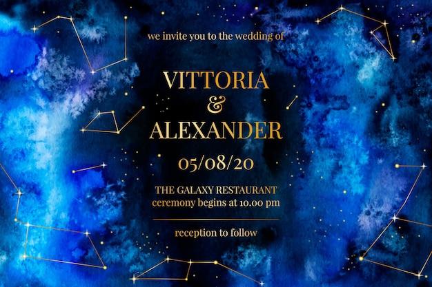 Watercolor galaxy wedding invitation