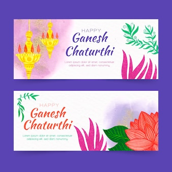 Watercolor ganesh chaturthi banner