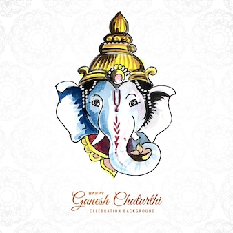 Watercolor ganesh chaturthi card concept background