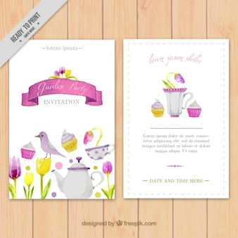 Watercolor garden party invitation