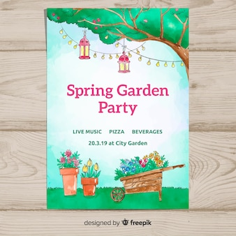 Watercolor garden spring party poster