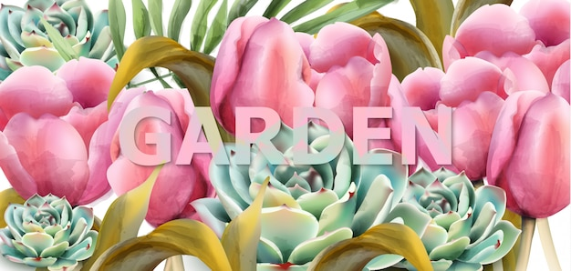 Watercolor garden tulips botany background