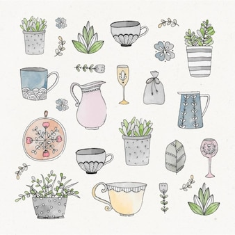 Watercolor gardening elements