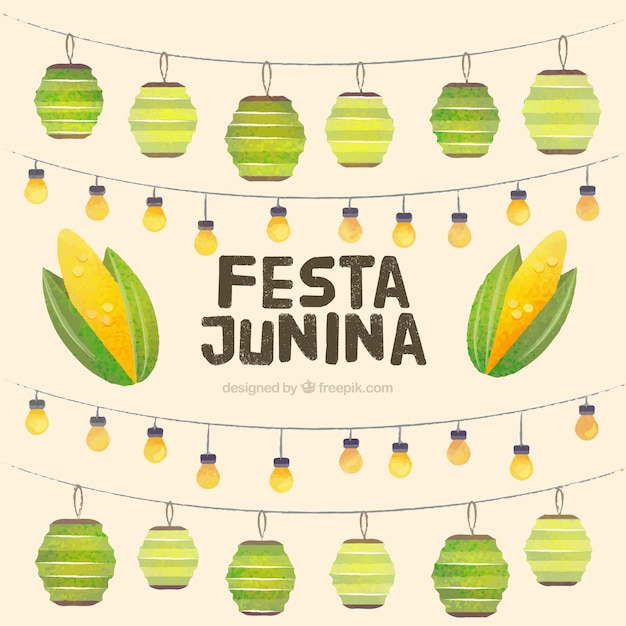 Watercolor garlands decoration festa junina background
