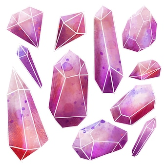 水彩の宝石セットイラストデザイン