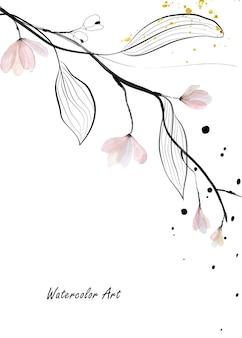 Акварель нежное естественное искусство пригласительный билет ветвей, листьев и розового цветка. художественная ботаническая акварель ручная роспись, изолированные на белом фоне. кисть включена в файл.
