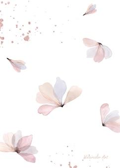 Акварель нежное естественное искусство пригласительный билет из цветочного орнамента с каплями розового золота. художественная ботаническая акварель ручная роспись, изолированные на белом фоне. кисть включена в файл.