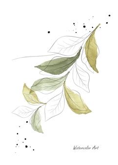Акварель нежное естественное искусство пригласительный билет зеленых листьев и ветвей. художественная ботаническая акварель ручная роспись, изолированные на белом фоне. кисть включена в файл.