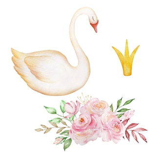 Watercolor gentle swan is a symbol of only love, a romantic and beautiful bird with a crown and a bouquet of delicate roses. illustration isolated on white background.