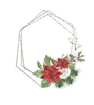 Watercolor geometric christmas silver frame with pine needles and eucalyptus