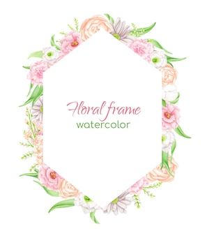 Watercolor geometric floral frame hexagonal flower arrangement with greenery and blush flowers