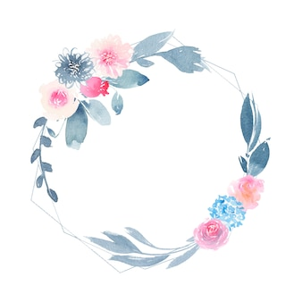 花のピンクのバラと藍の葉と水彩の幾何学的な丸い花輪
