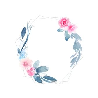 Акварельный геометрический круглый венок с цветком розовой розы и листьями индиго