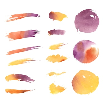 Watercolor geometric shapes vector set