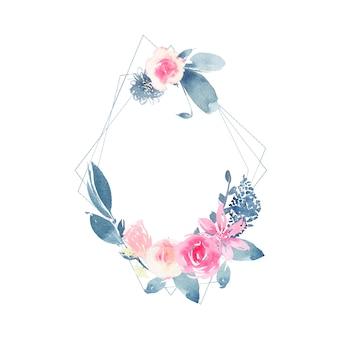 Акварельный геометрический венок с цветком розовой розы и листьев индиго