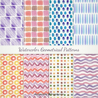 Watercolor geometrical patterns pack Free Vector