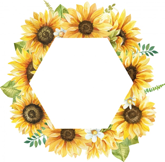 Watercolor geometry frame with hand painted sunflowers