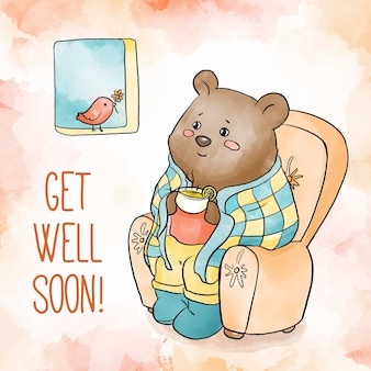 Watercolor get well soon bear
