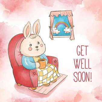 Watercolor get well soon rabbit