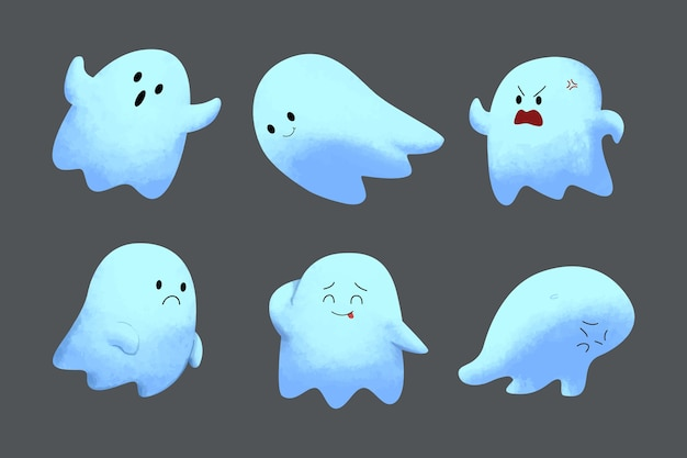 Watercolor ghost character collection