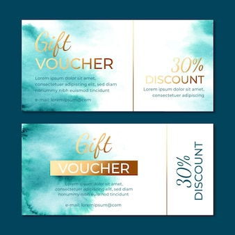 Watercolor gift voucher template with discount