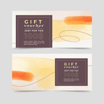 Watercolor gift voucher template