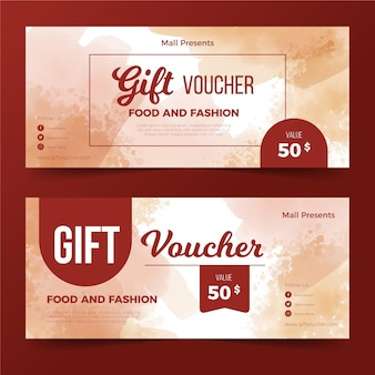 Watercolor gift voucher template
