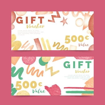 Watercolor gift voucher templates collection