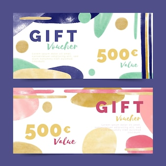 Watercolor gift voucher templates