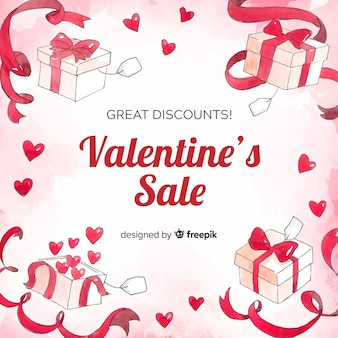 Watercolor gifts valentine sale background